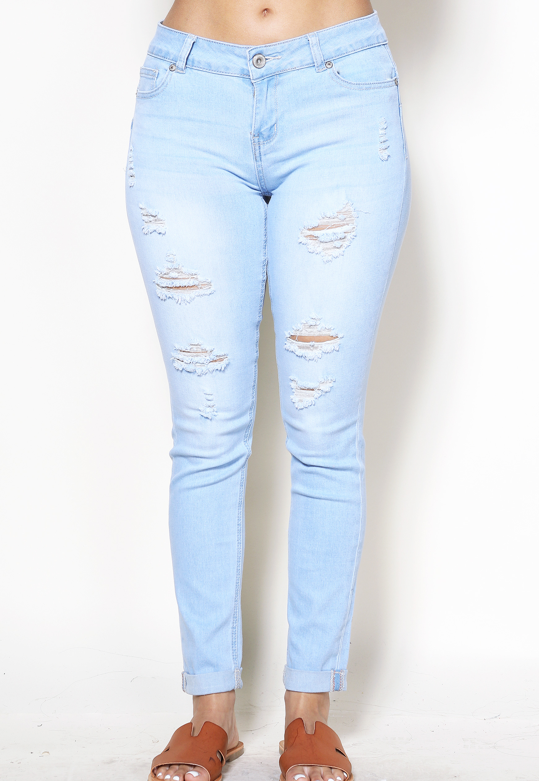 Distress Denim Skinny Jeans