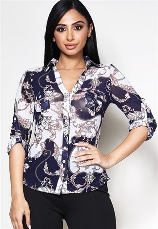 Semi-Sheer Double Pocket Button-Up Blouse
