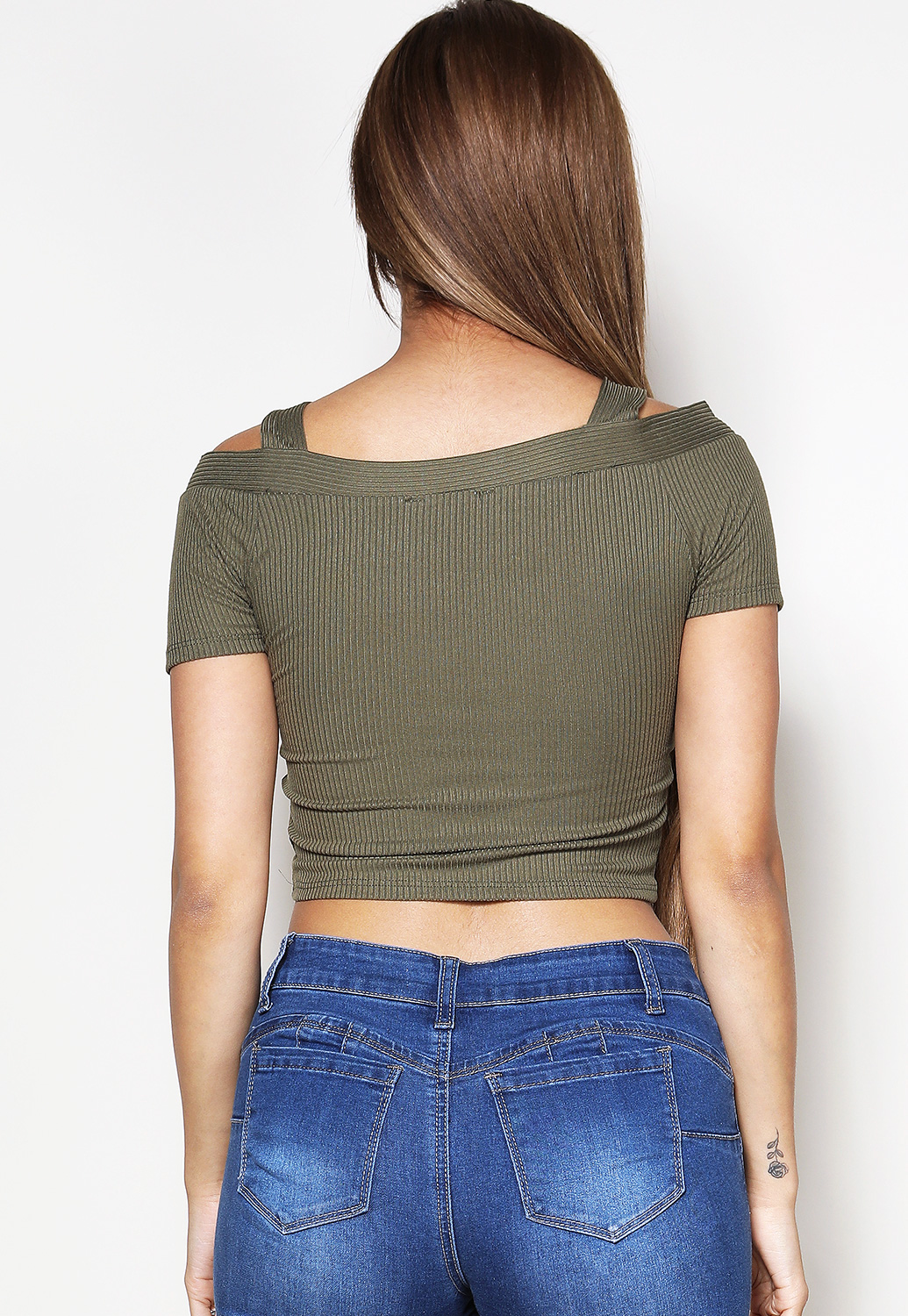 Open Shoulder Button Detail Top