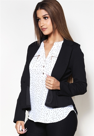 Flare Hem Single Button Blazer
