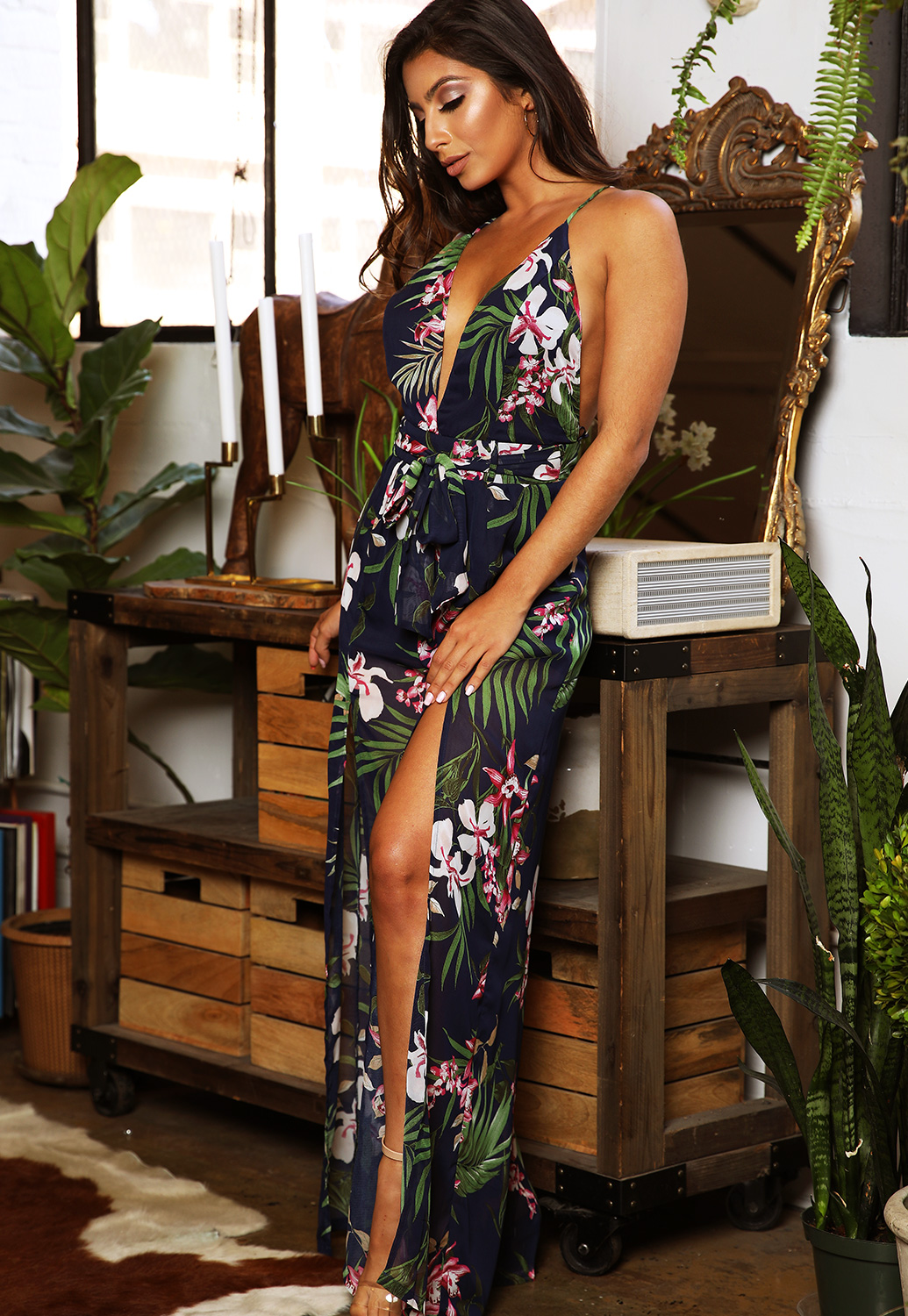 Back Open Floral Jumpsuit