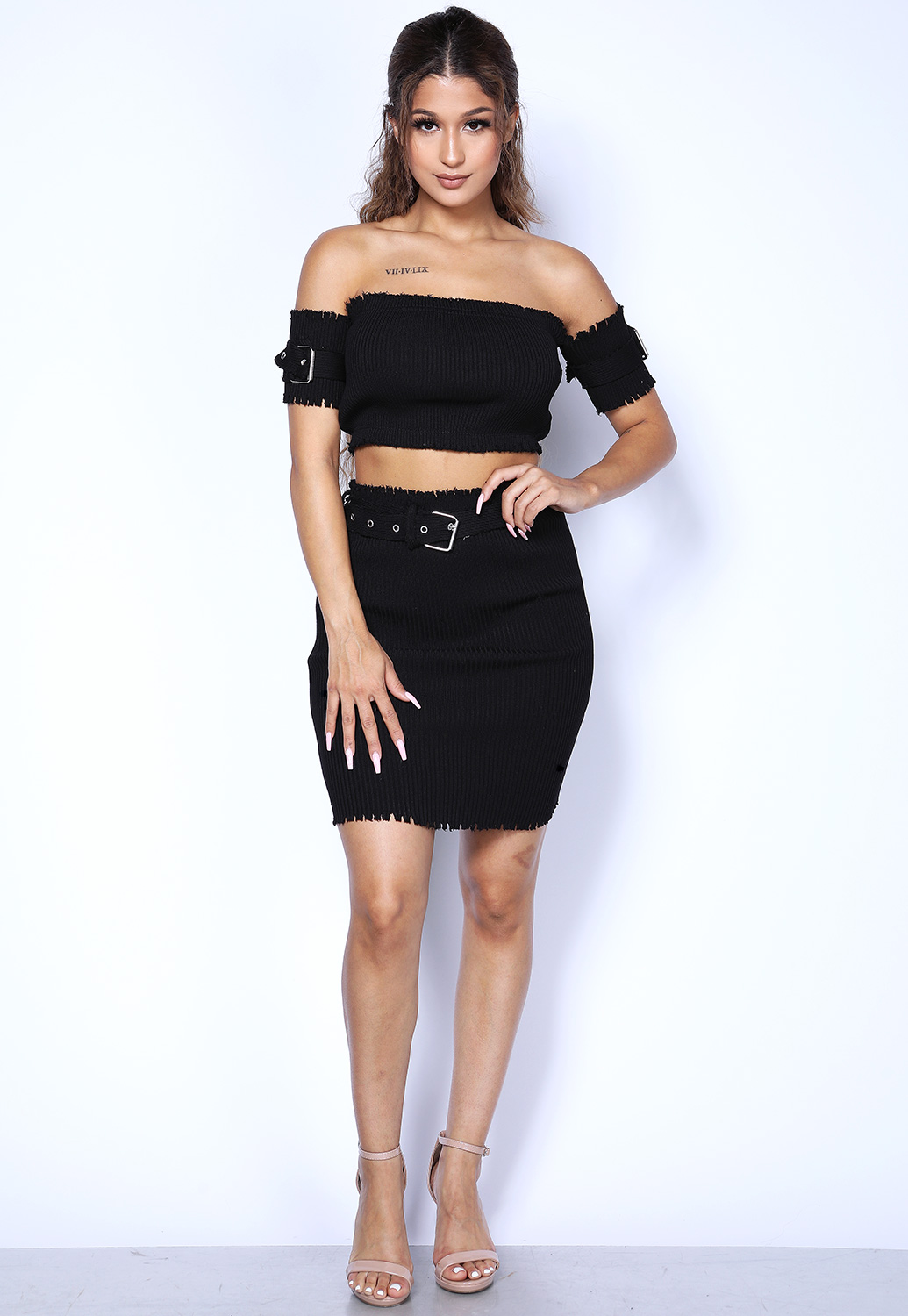 Distressed Stretch Belted Skirt