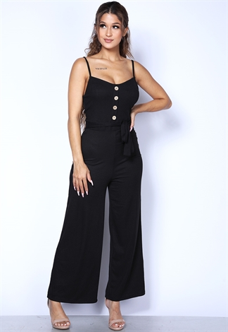 Ribbed Button Detail Jumpsuit