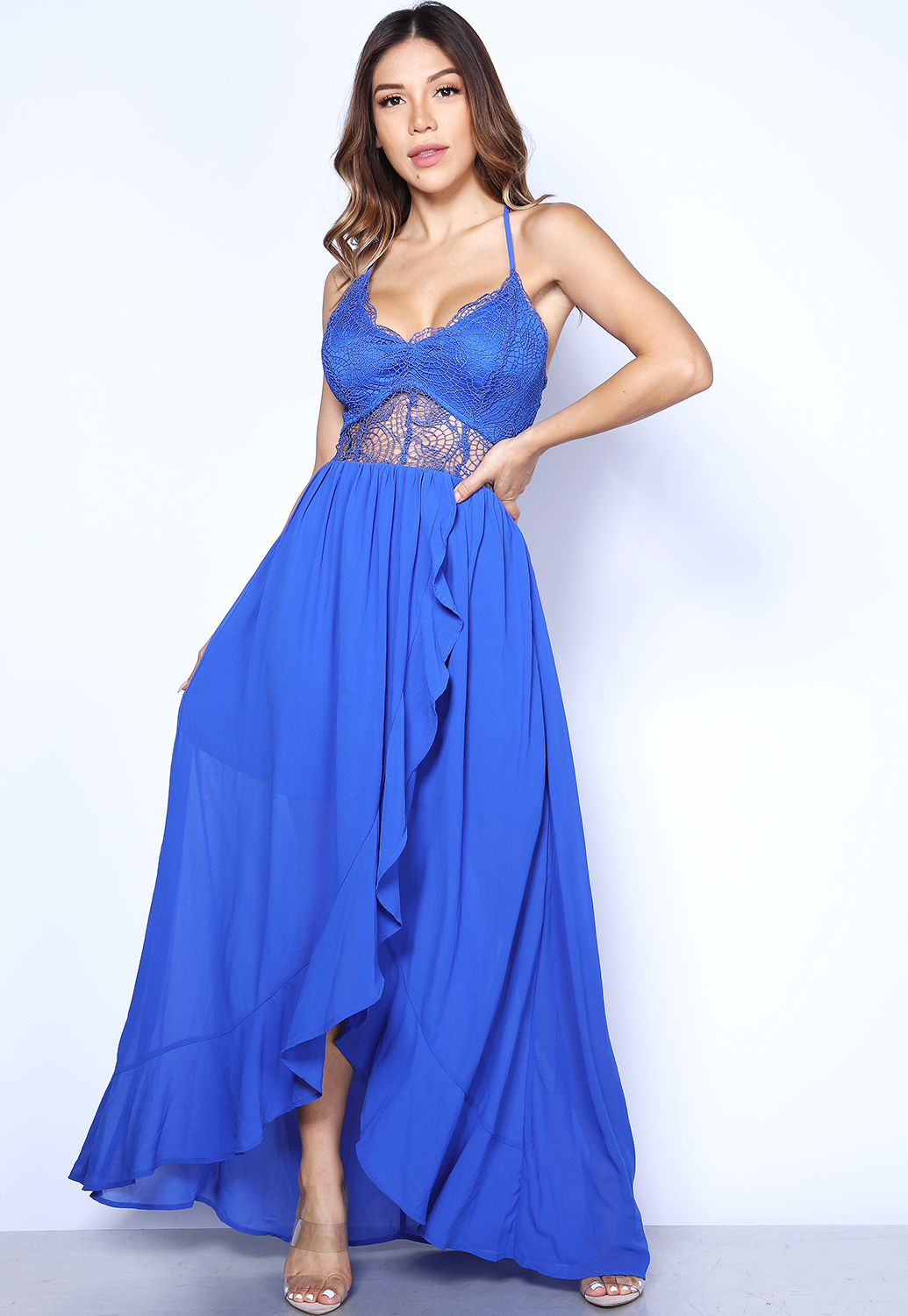 Ruffle Trim Maxi Dress