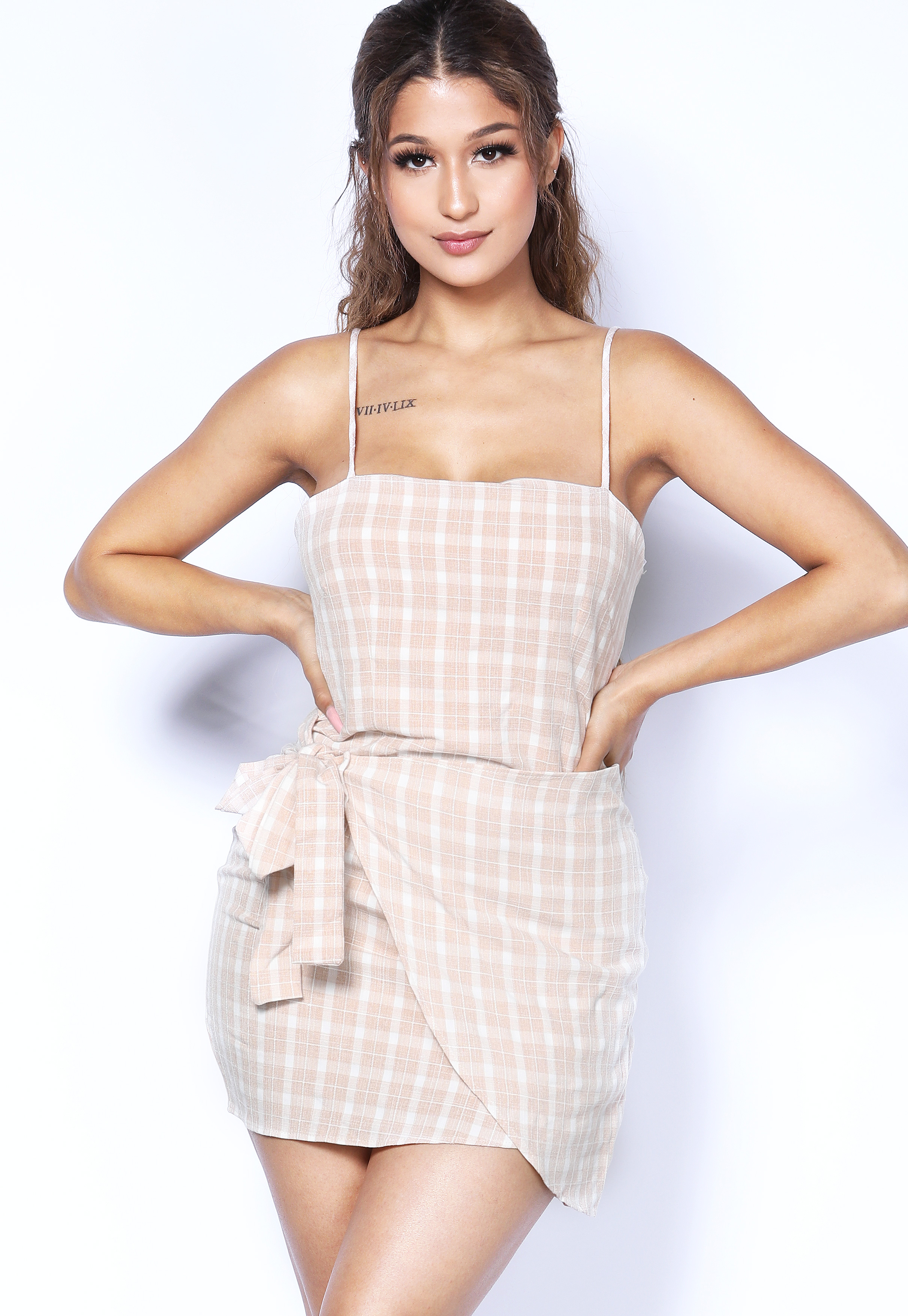 Plaid Tie Back Mini Dress
