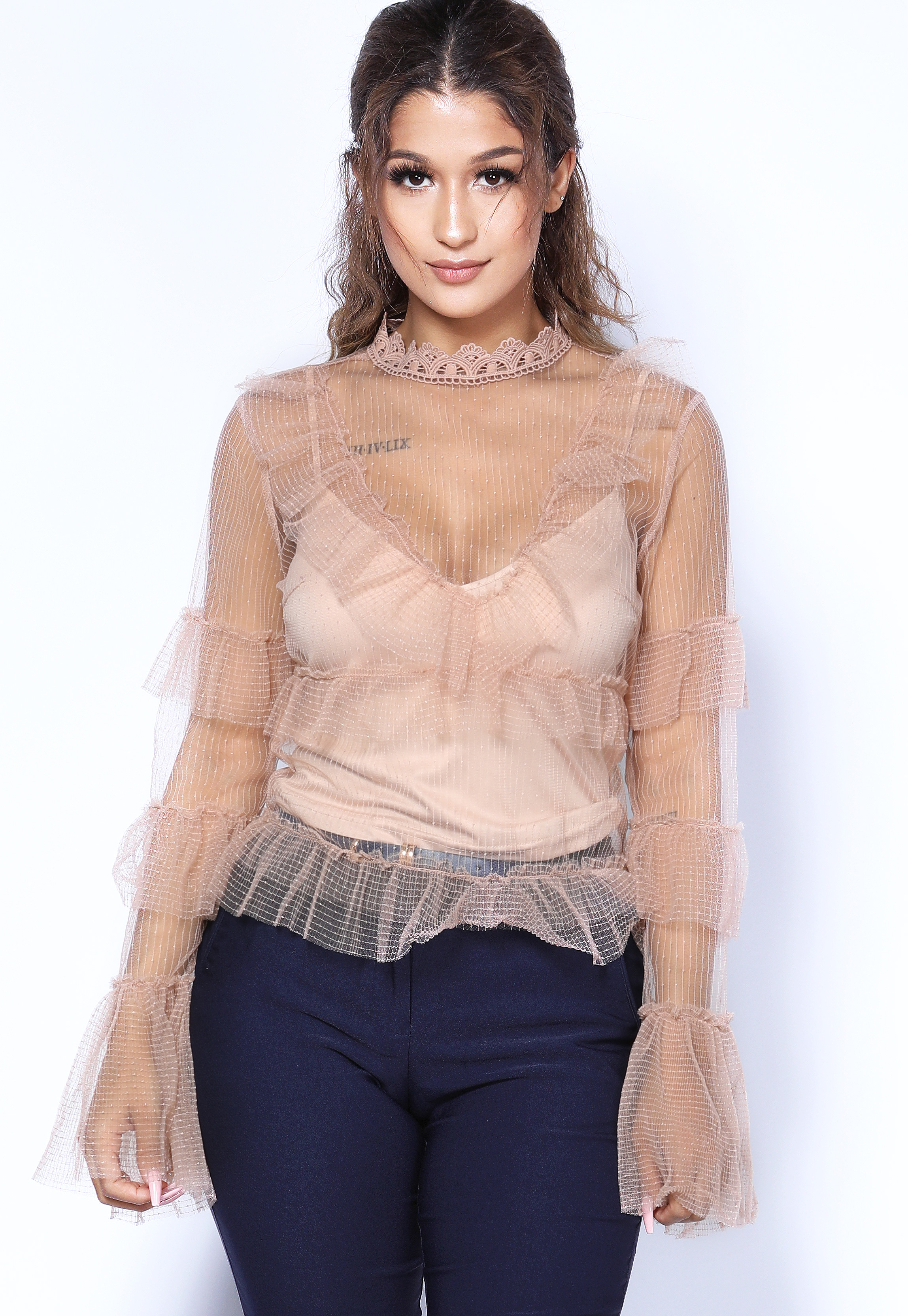 Sheer Mesh Flare Trim Top