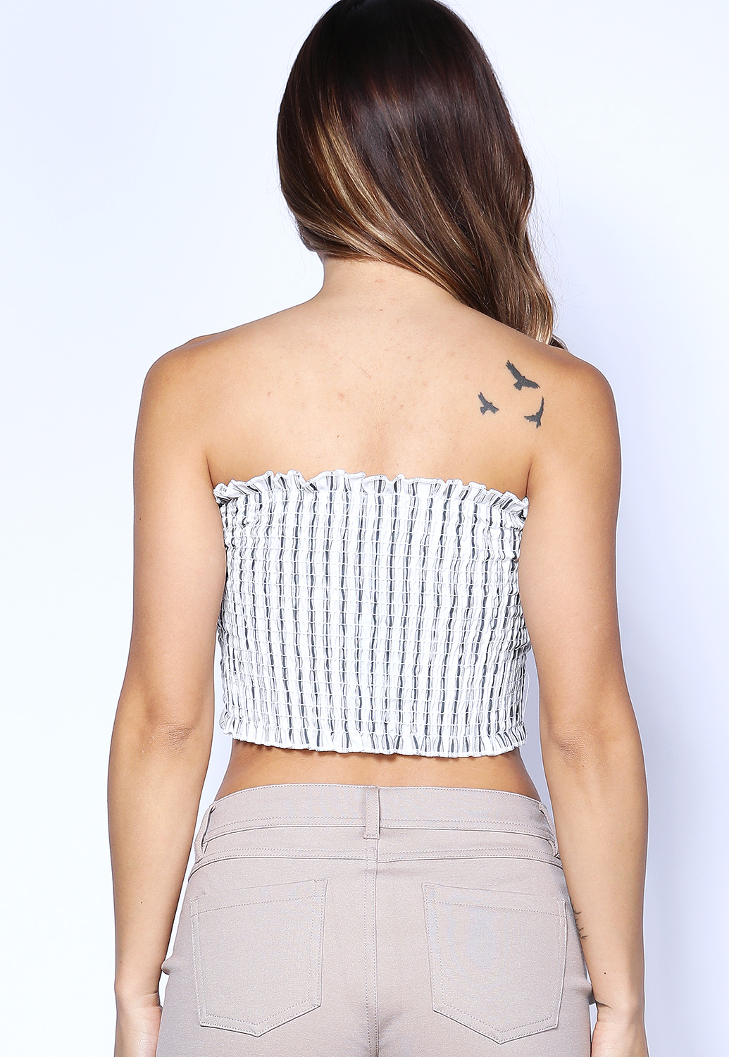 Smocked Strapless Crop-Top