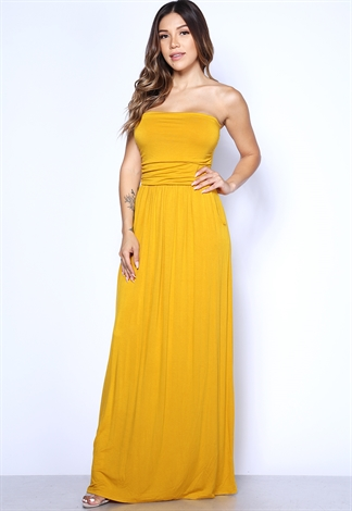 b02c95ff7b2 Strapless Side Pocket Detail Maxi Dress
