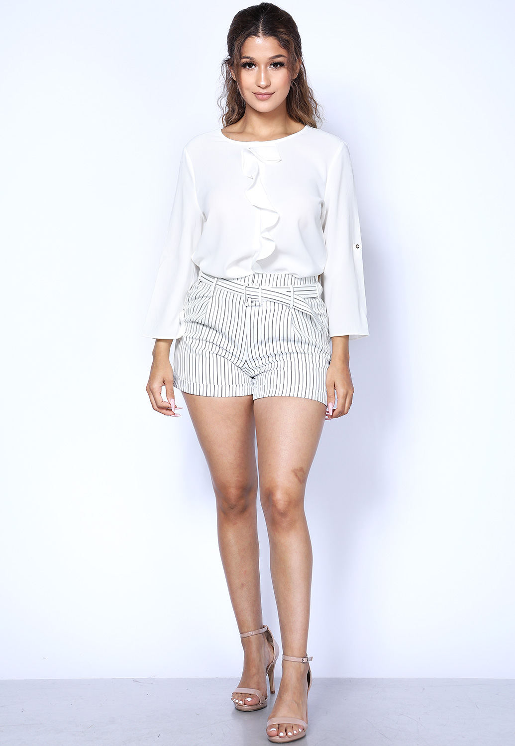 Pinstriped Belted Shorts