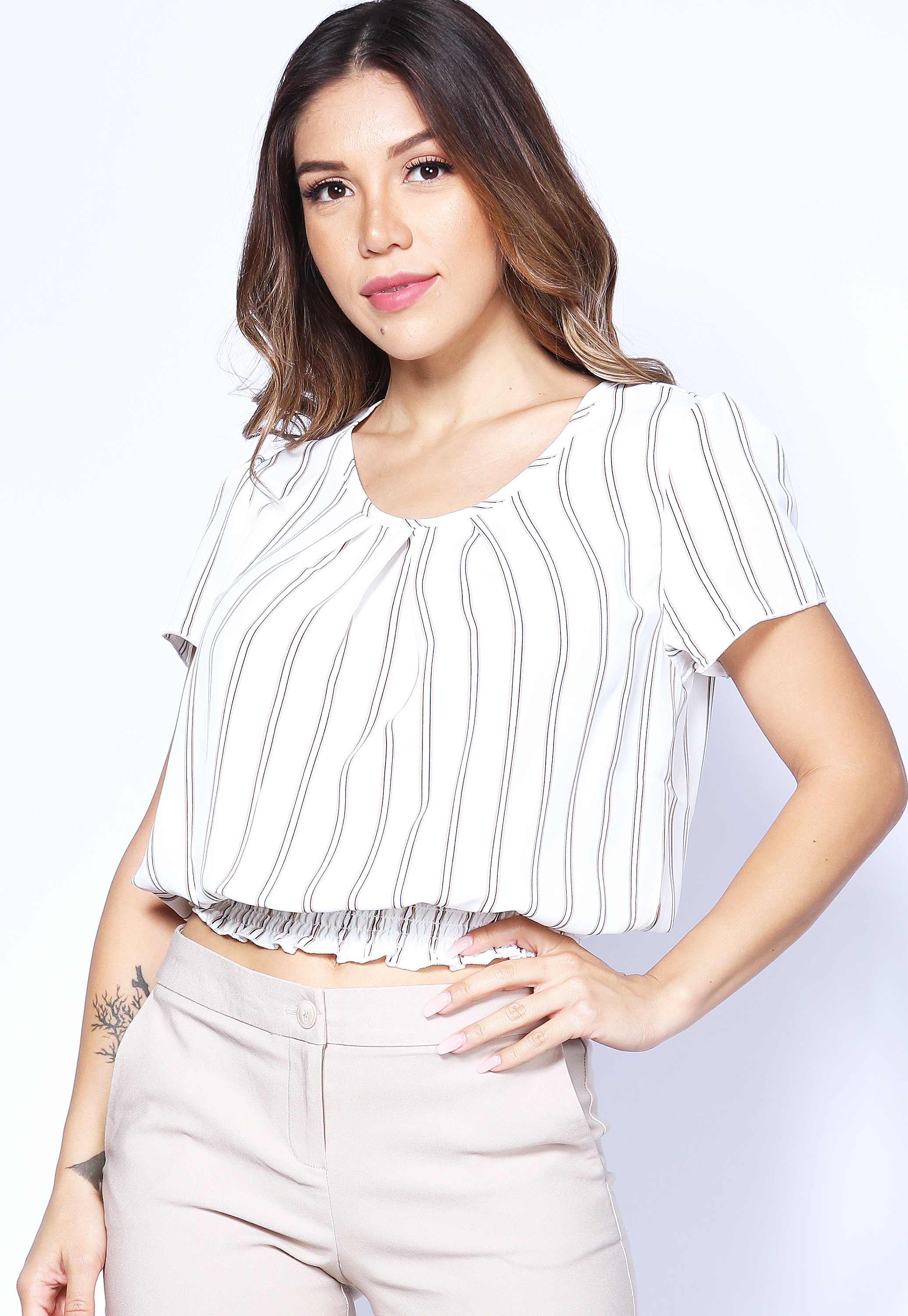 Pinstriped Smocked Detail Top