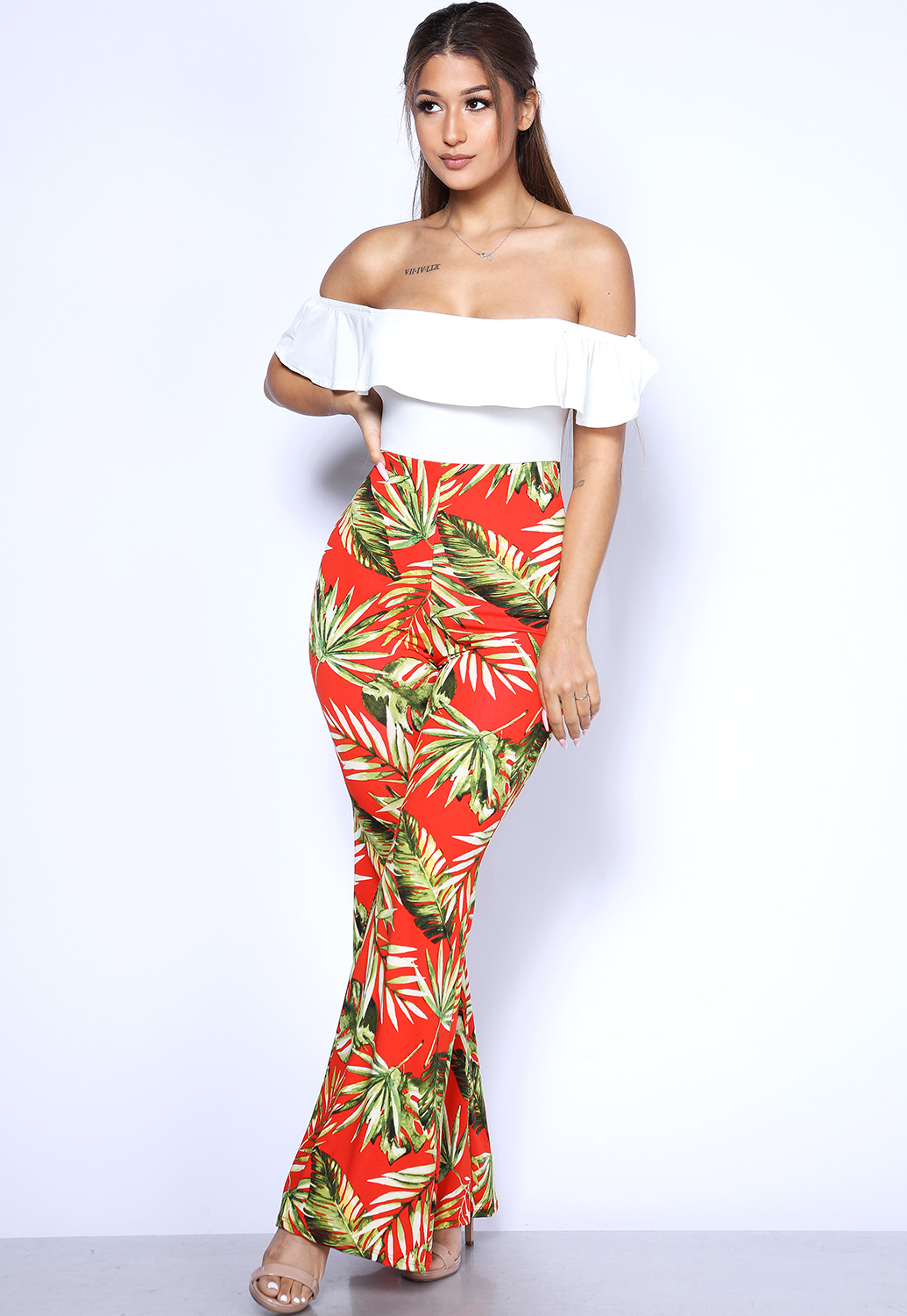 Off The Shoulder Leaf Print Jumpsuit