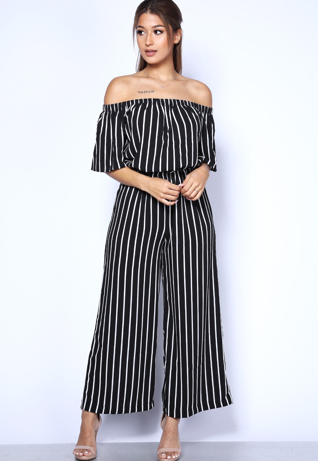 Off The Shoulder Vertical Striped Jumpsuit
