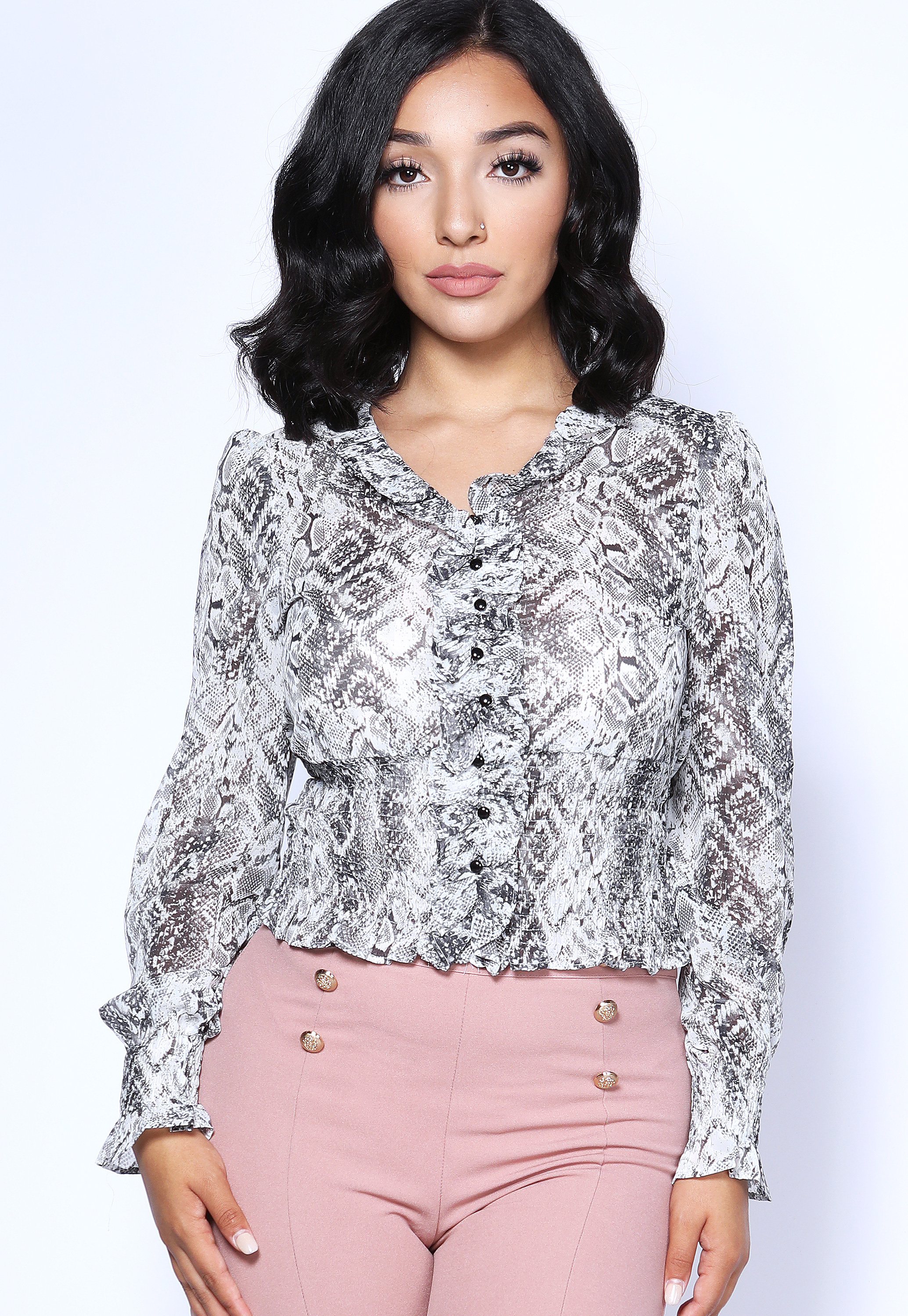 Snakeskin Print Sheer Top