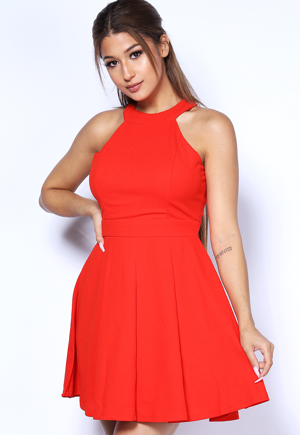 Halter Neck Fit And Flare Mini Dress