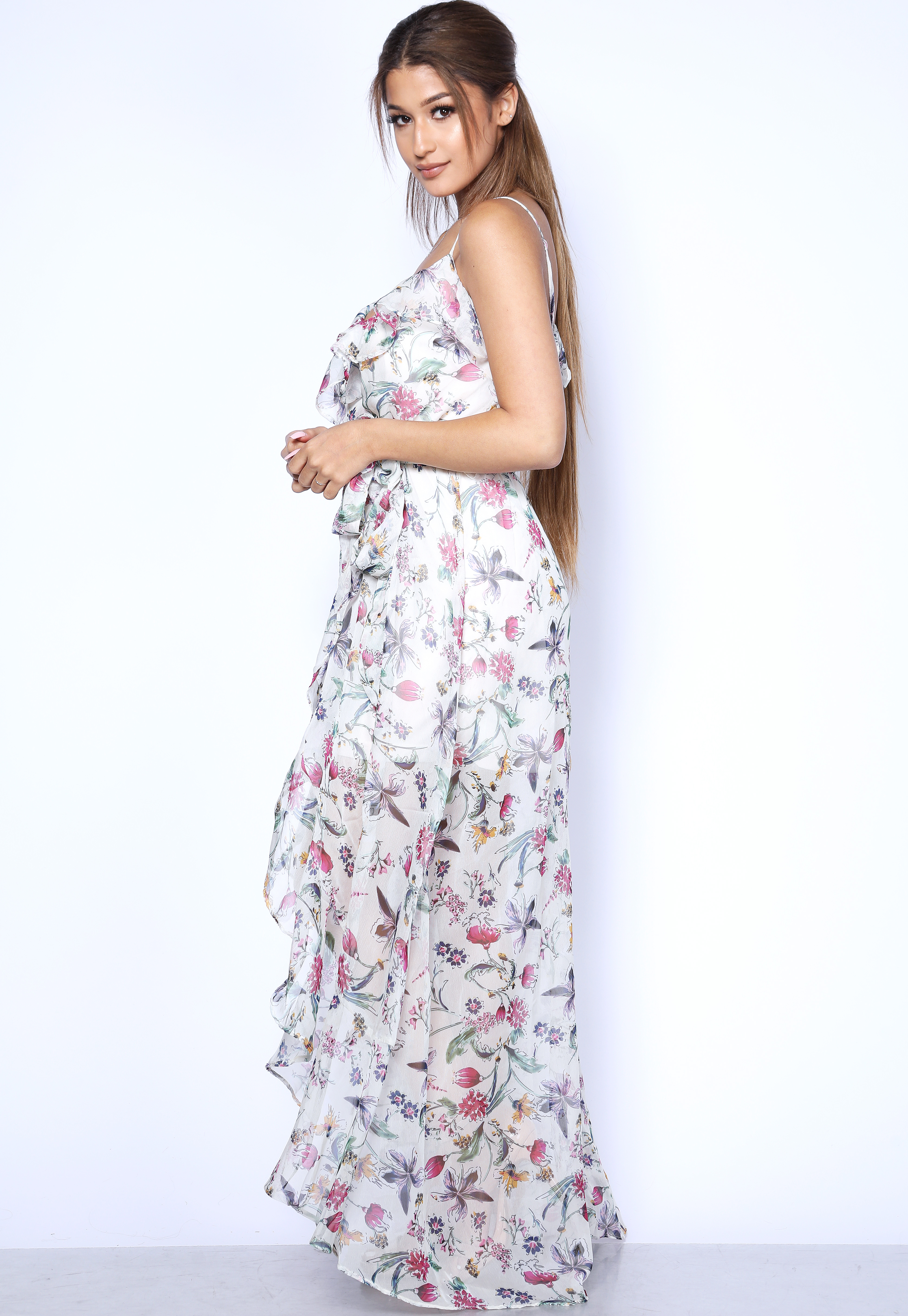 Floral Print  High Low Maxi Dress