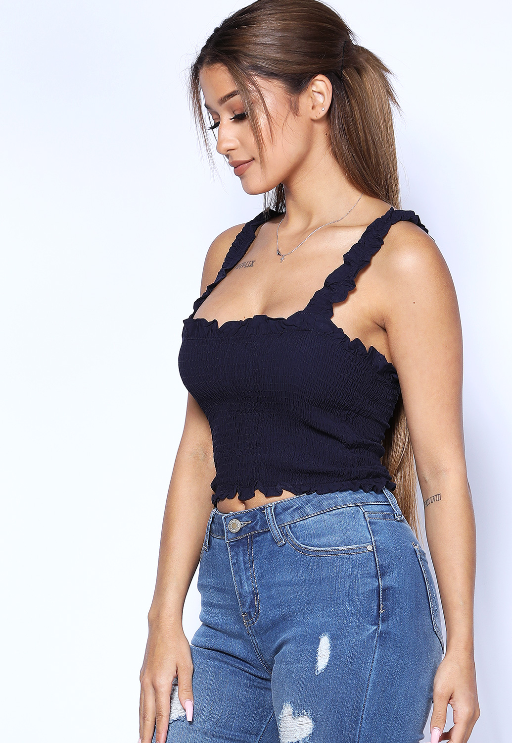 Smocked Detail Crop Top