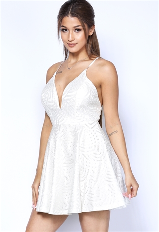 Plunging Lace Overlay Fit And Flare Mini Dress
