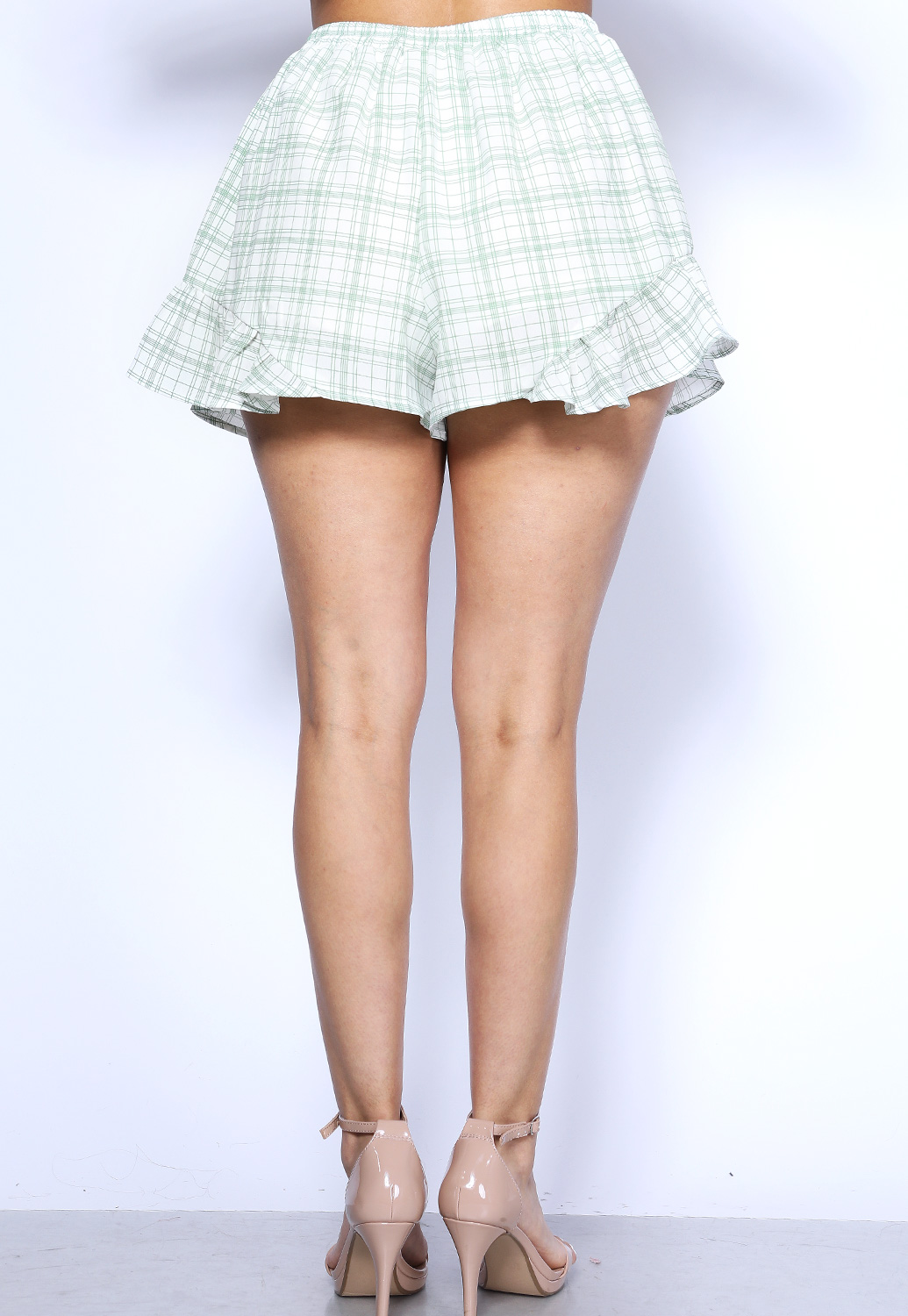 Plaid Ruffle Trim Shorts