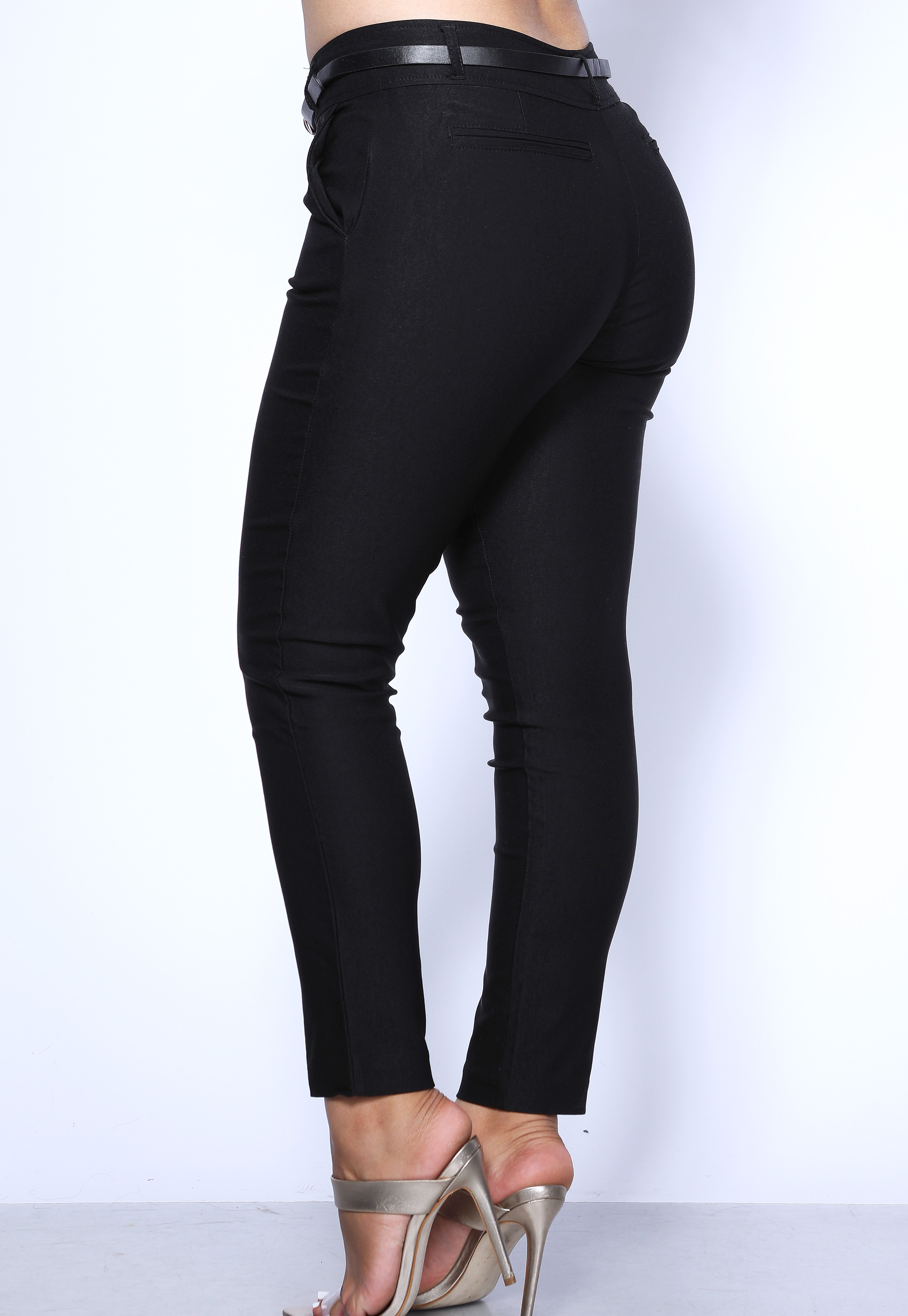 Belted Crop Dress Pants