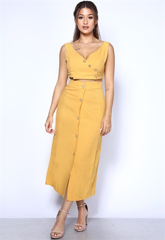 Button Up Long Skirt W/ Top