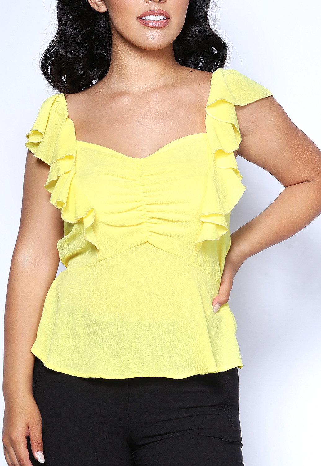 Ruched Ruffle Trim Top