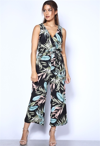 Leaf Print Surplice Jumpsuit