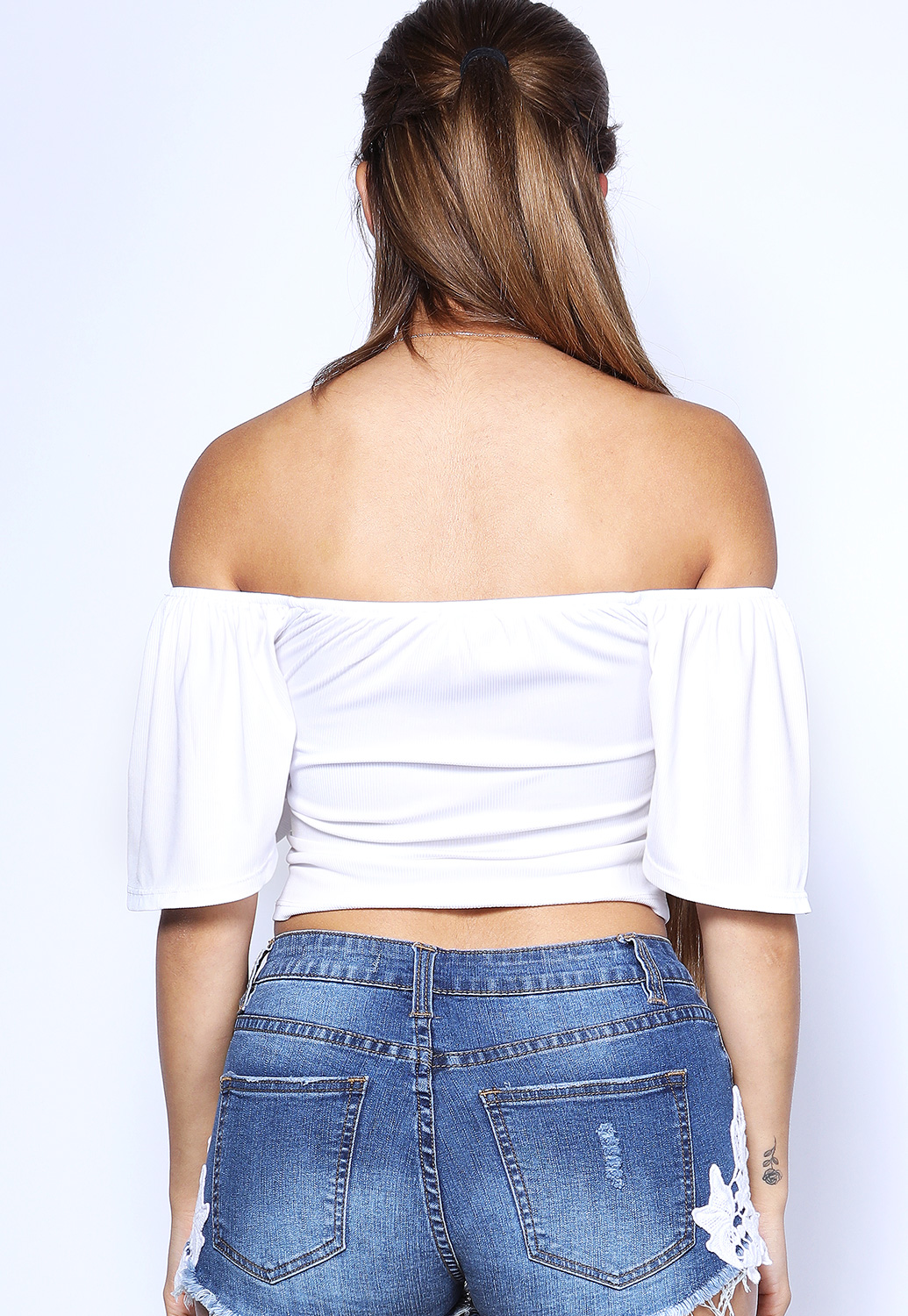 Button Detail Off The Shoulder Top