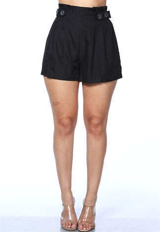 Button Detail High Waist Shorts