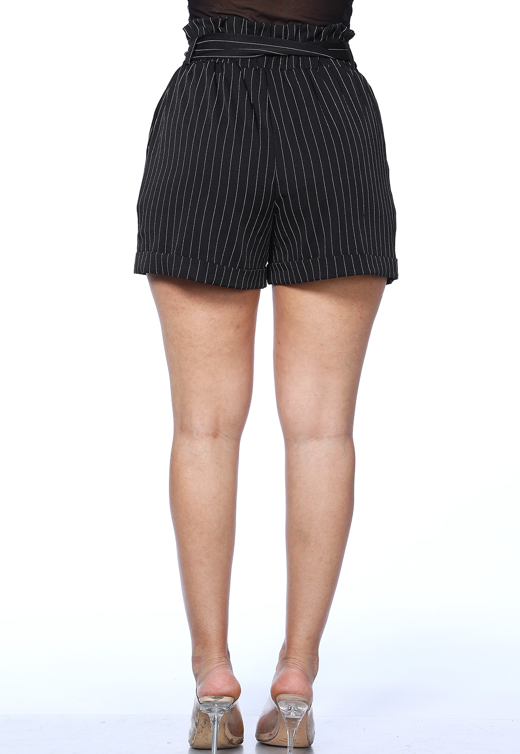Pinstriped Tie Front Shorts