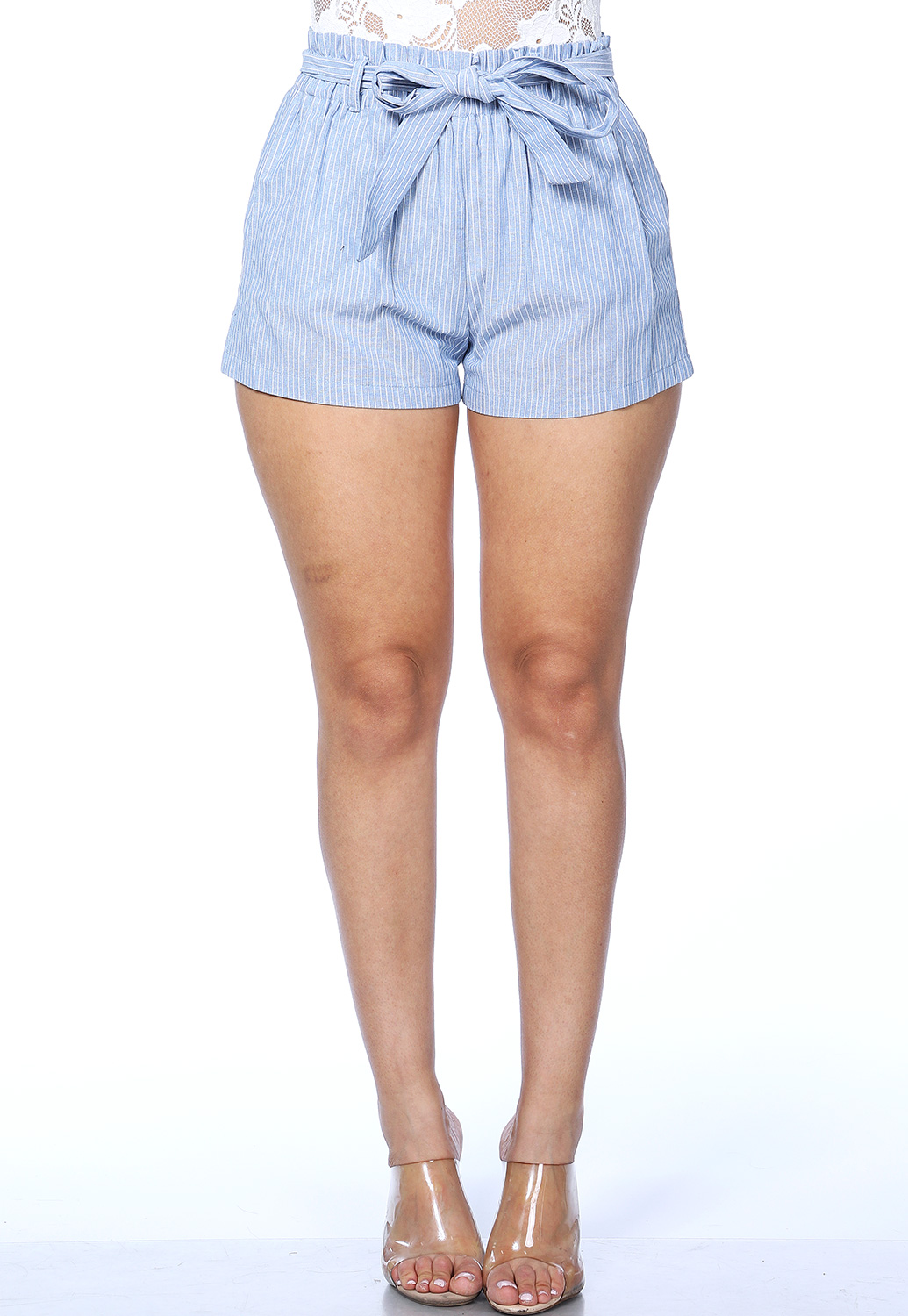 Tie Front Pinstriped Shorts