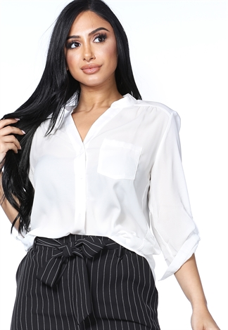 Half Button Up Blouse