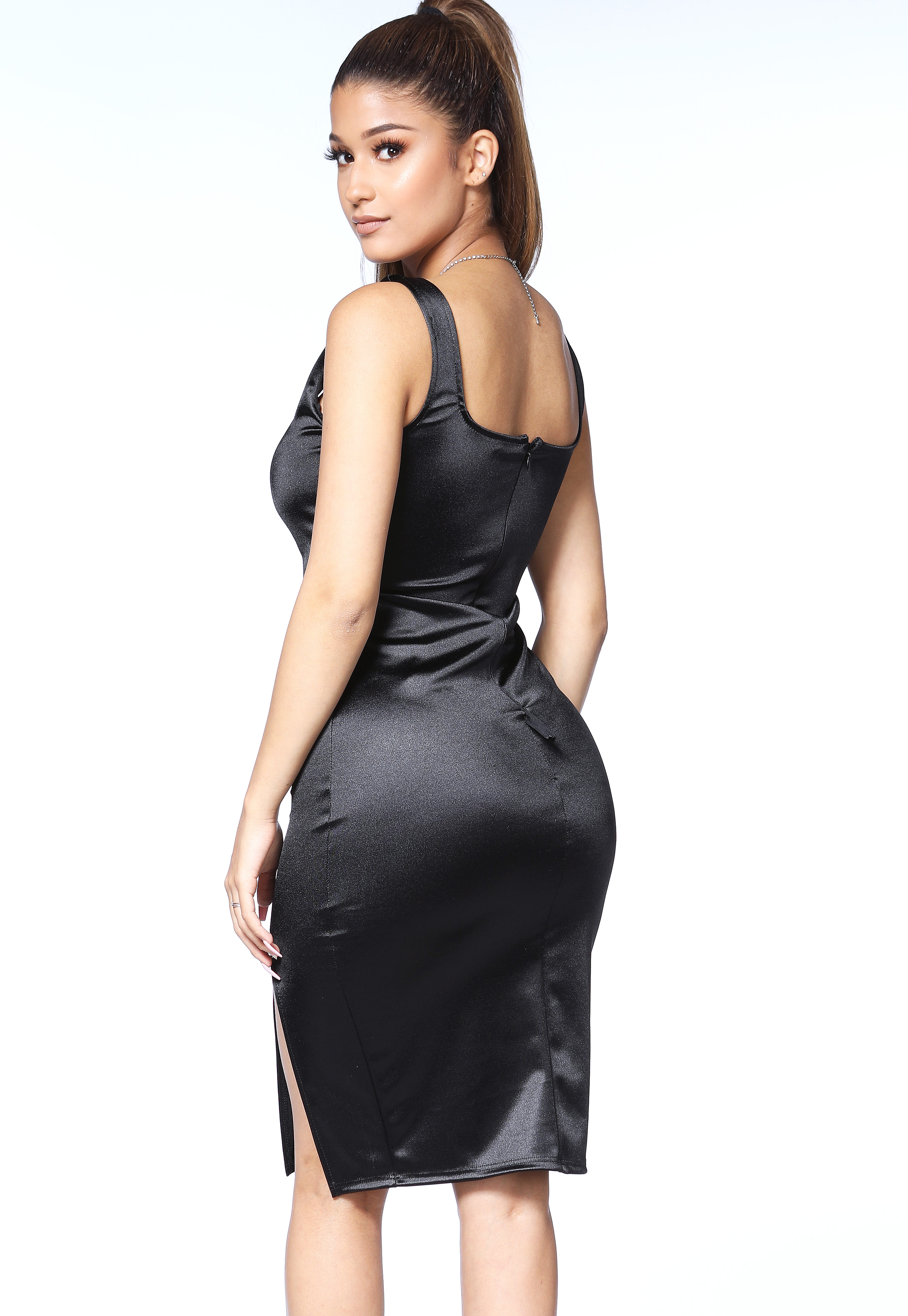 Satin Front Slit Bodycon Dress