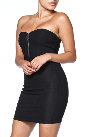 Zip Up Strapless Mini Dress