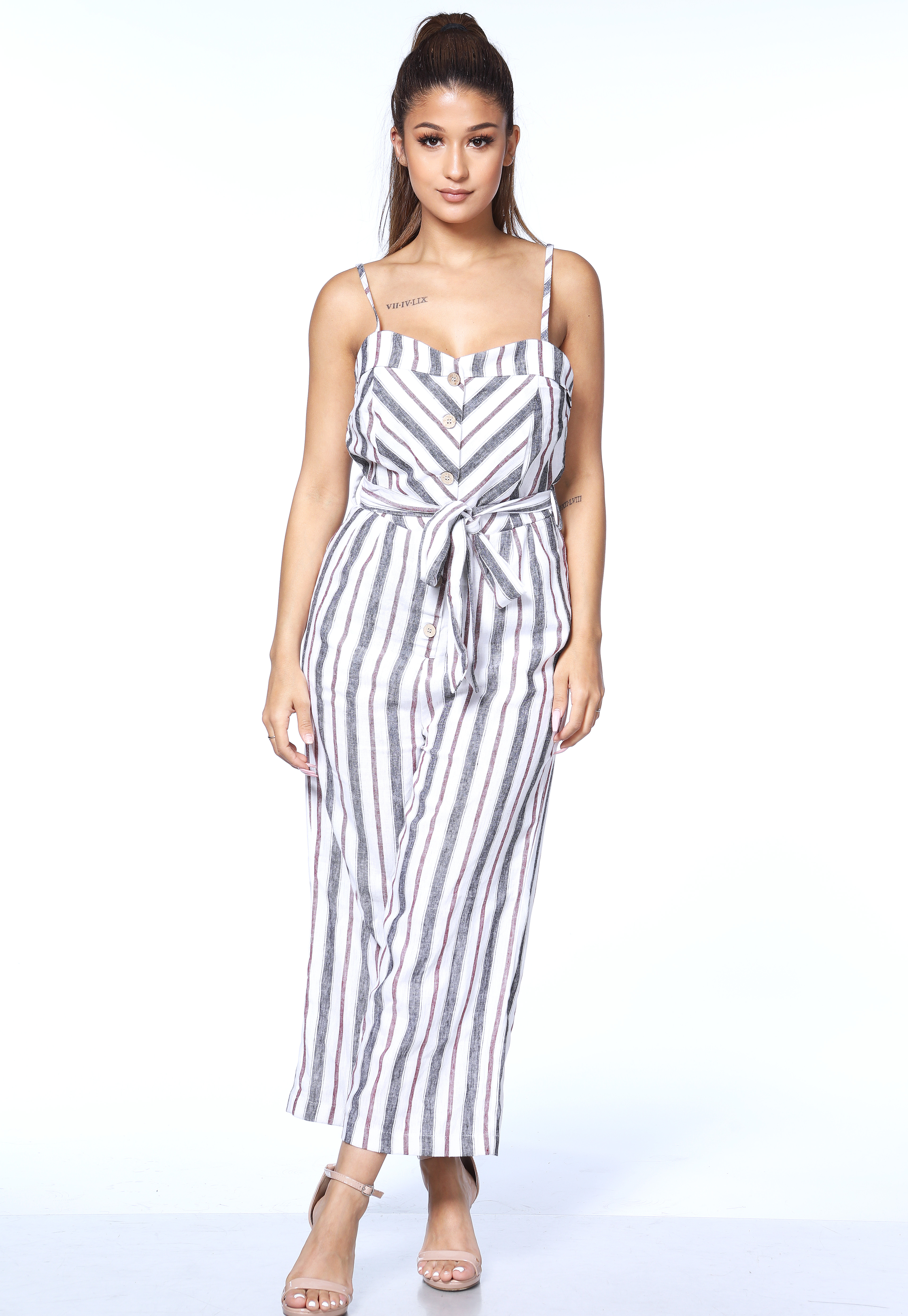 Pinstriped Button Detail Jumpsuit