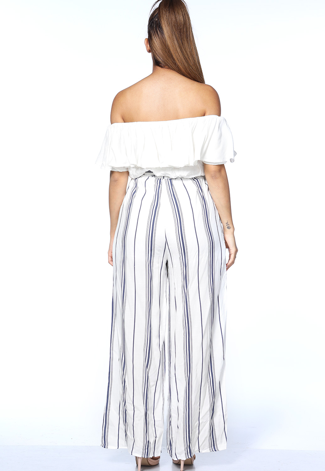 Off The Shoulder Pinstriped Jumpsuit
