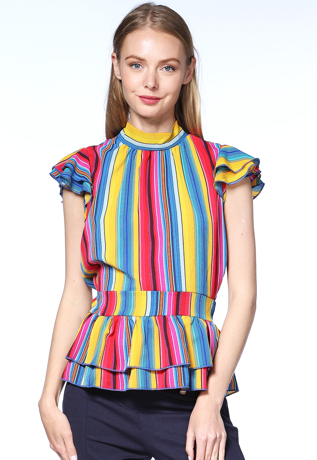 Pinstriped Multi-Color Dressy Top