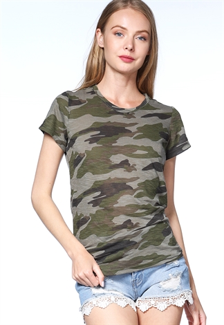 Camo Print Activewear Top
