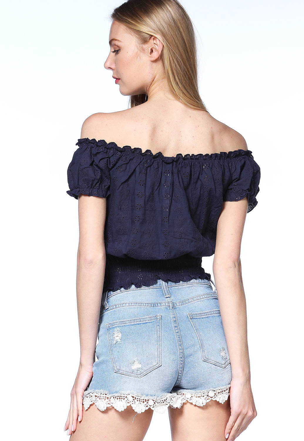 Off The Shoulder Eyelet Top