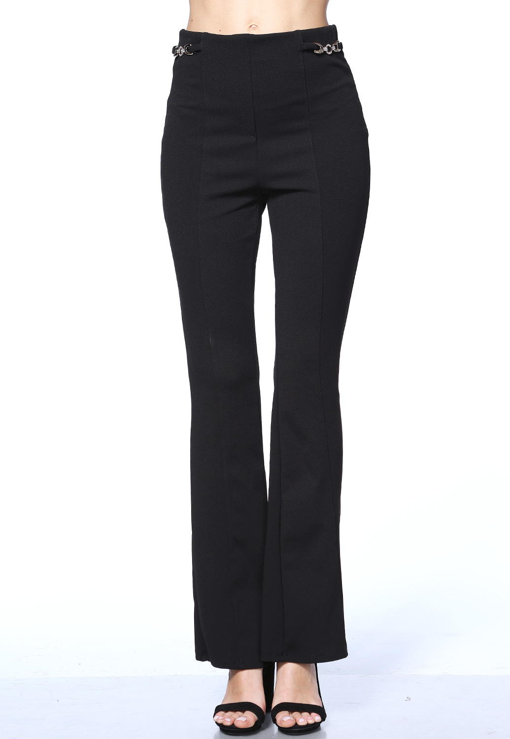 High Waisted Chain Detail Dressy Pants