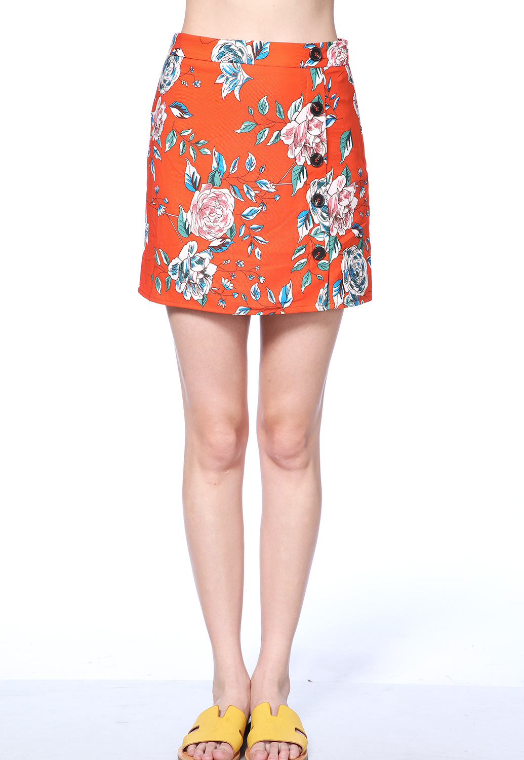 Floral Print Button Detail Mini Skirt
