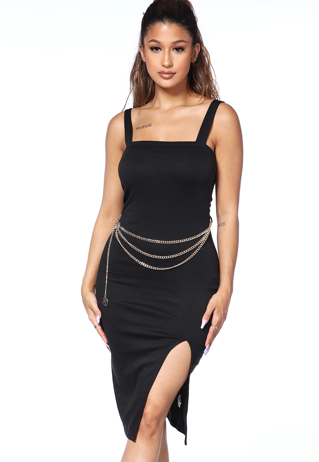 Front Slit Chain Belt Detail Dress
