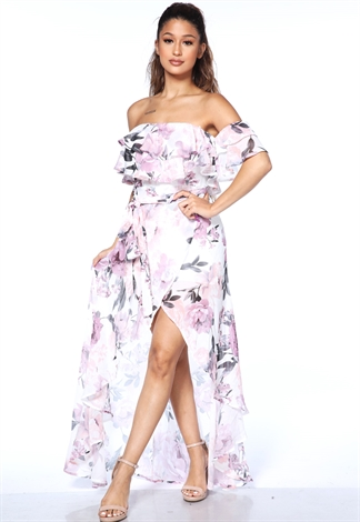 Floral High Low Maxi Dress