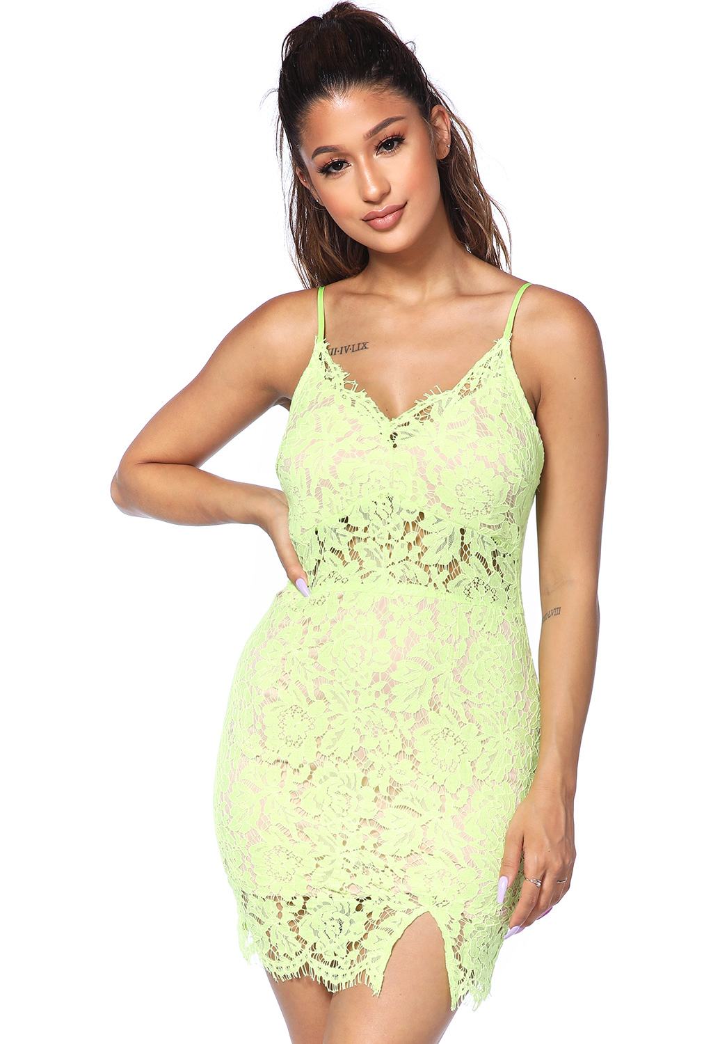 Lace Panel Mini Dress