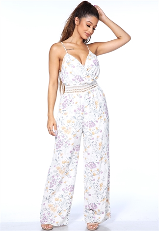 Floral Crochet Trim Jumpsuit