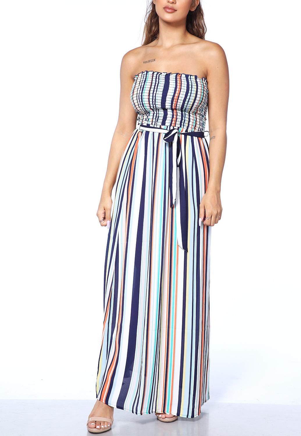 Striped Smocked Detail Maxi Dress