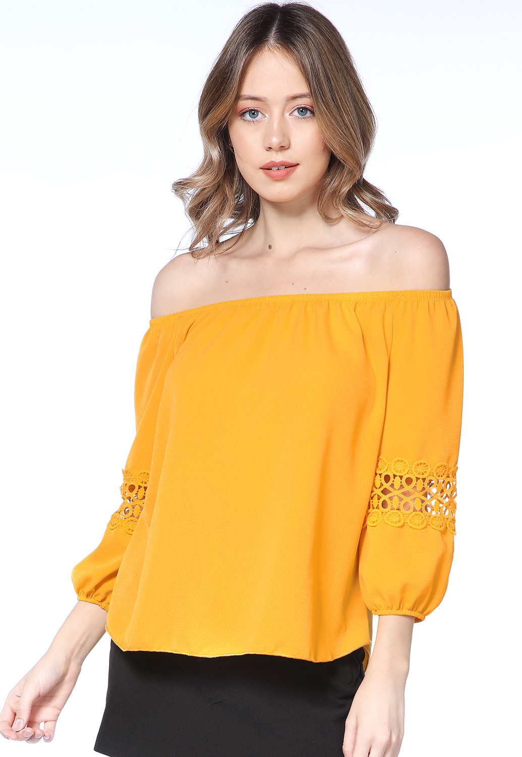Off The Shoulder Crochet Trim Top