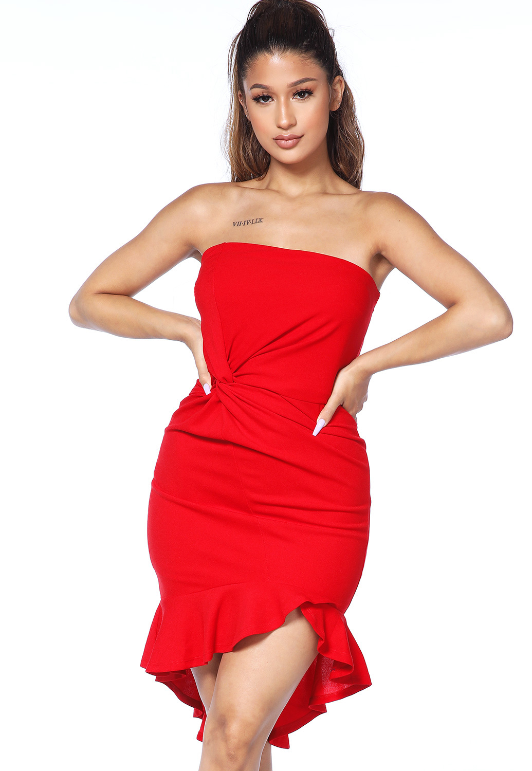 Strapless Flare Trim Dress