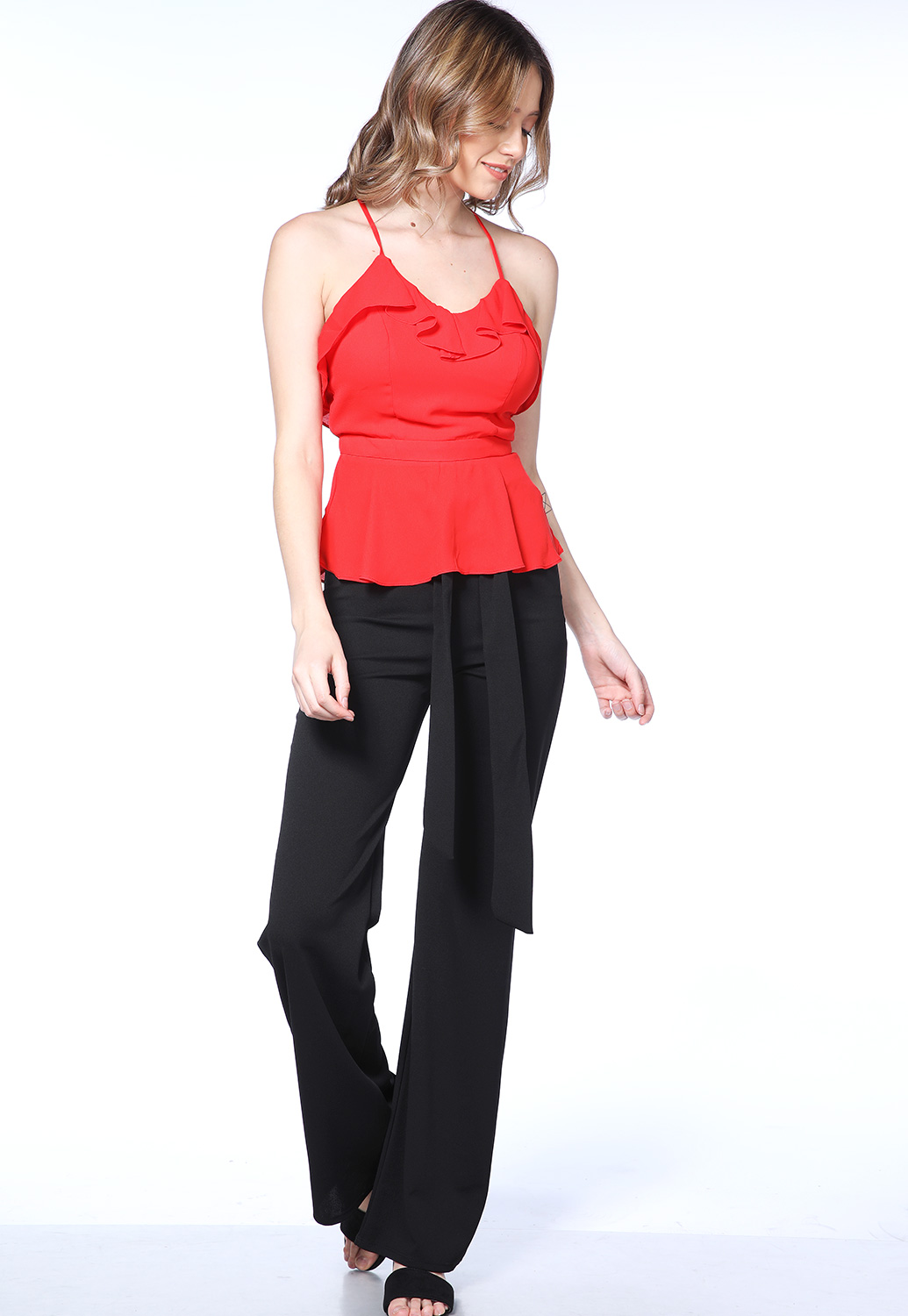 Ruffle Trimcross Back Top
