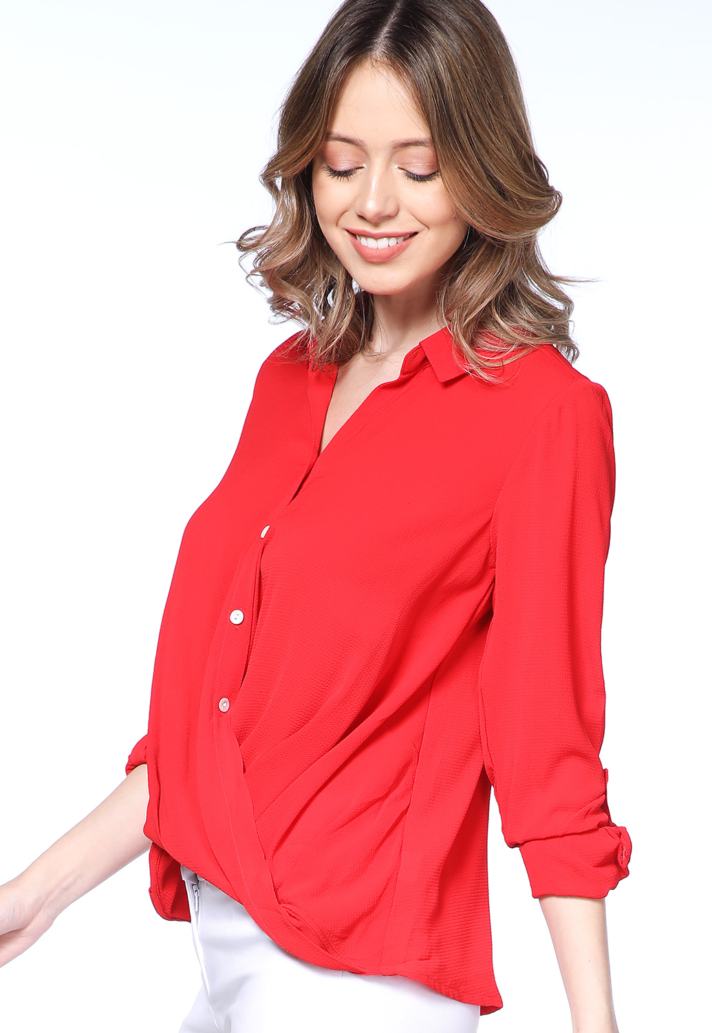 Button Up Long Sleeve Blouse