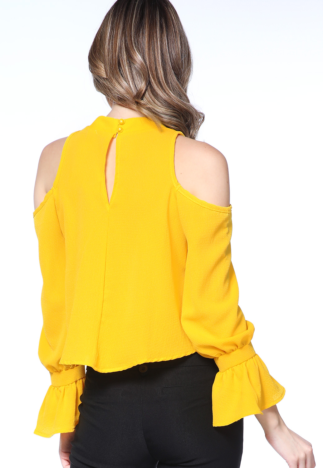Ruffle Open Shoulder Top